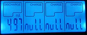 Opus display discharge li ion AA battery charger