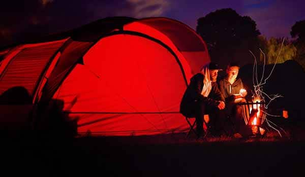 necessary things for camping red tent fire night