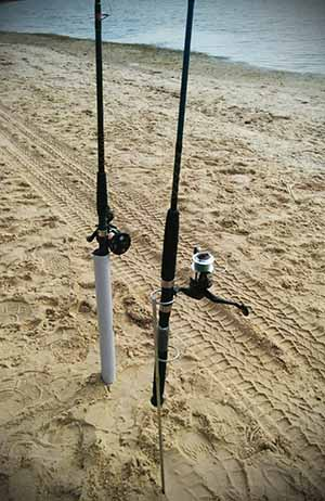 completed pvc and metal homemade fishing rod holders for beach fishing
