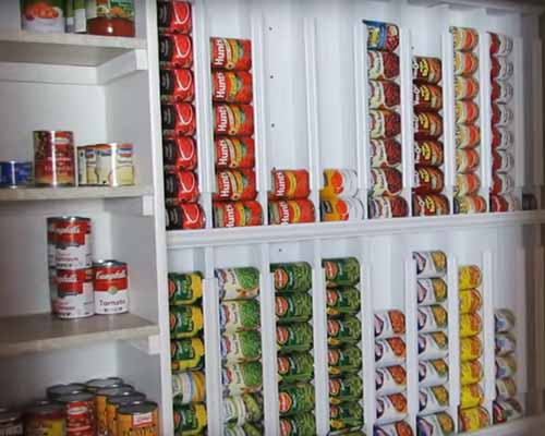 pantry rotation shelves for short term food storage tins