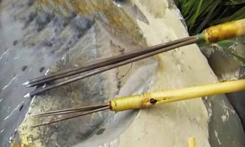 How to make a fishing spear head with metal barbs